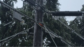 Ice on power lines
