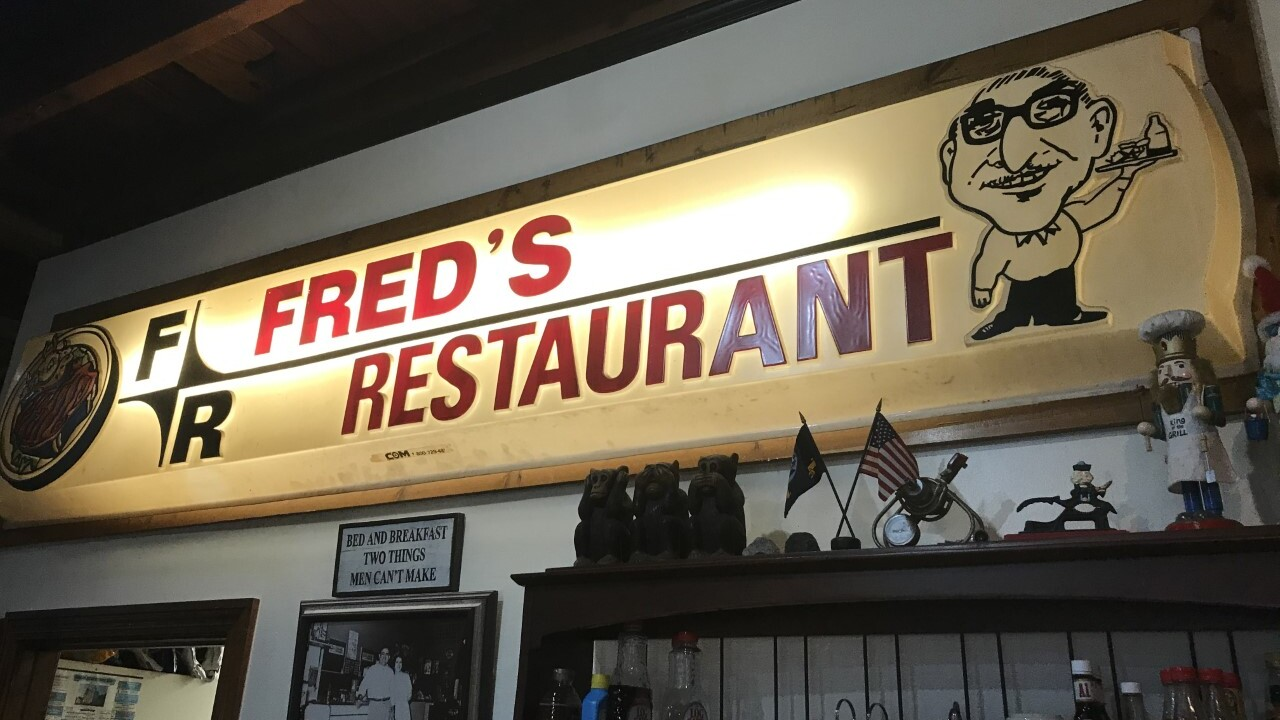 Fred's Restaurant indoor sign