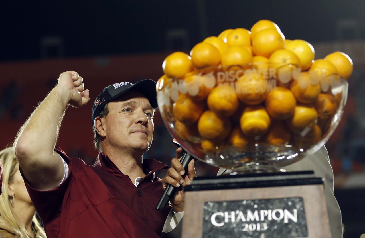 Florida State Seminoles head coach Jimbo Fisher celebrates after winning 2013 Orange Bowl