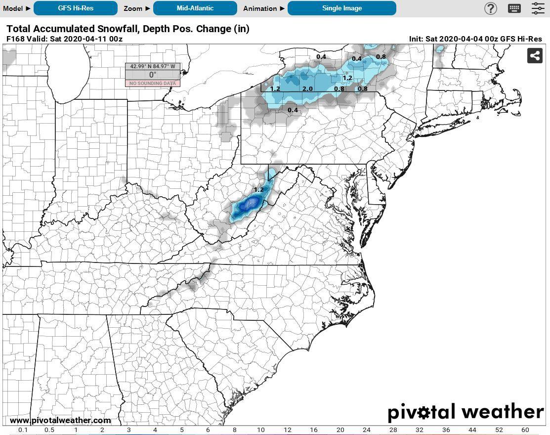 Source Pivotal Weather: GFS Model Next Weekend April 10-12th