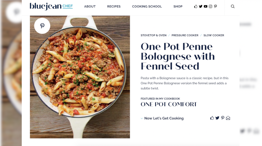 Blue Jean Chef penne bolognese