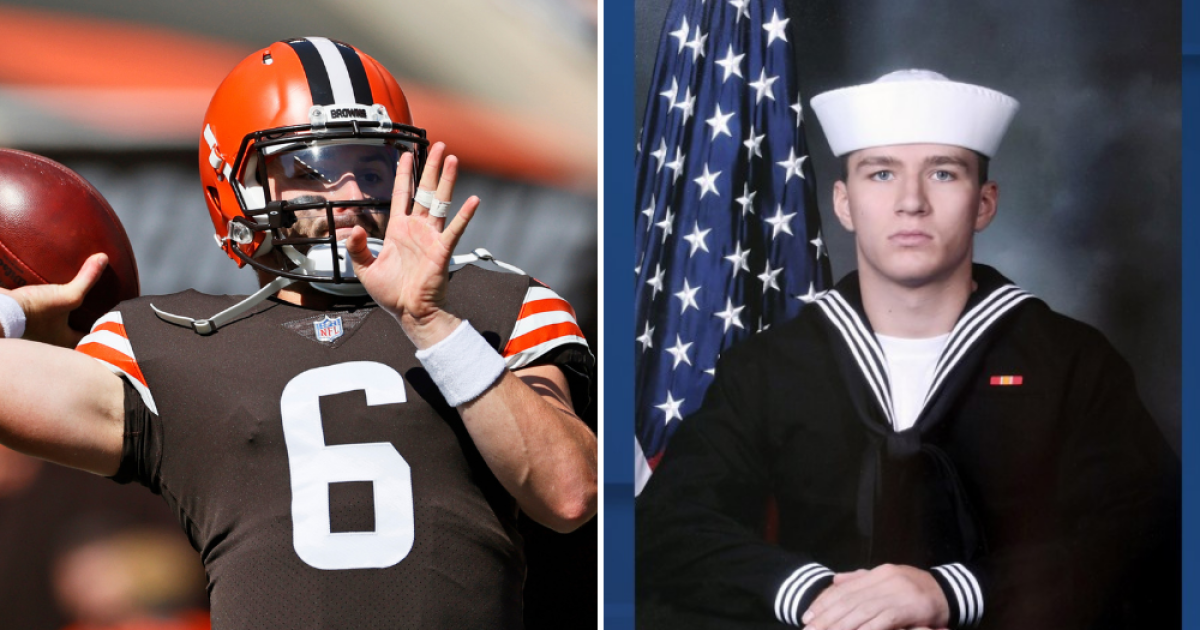Browns QB honors fallen military member with customer cleats