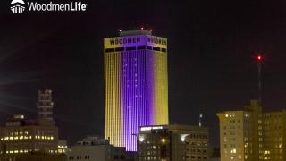 Gold & Purple WoodmenLife Woodmen Tower