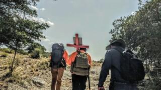 Hiking through Arizona's desert - border