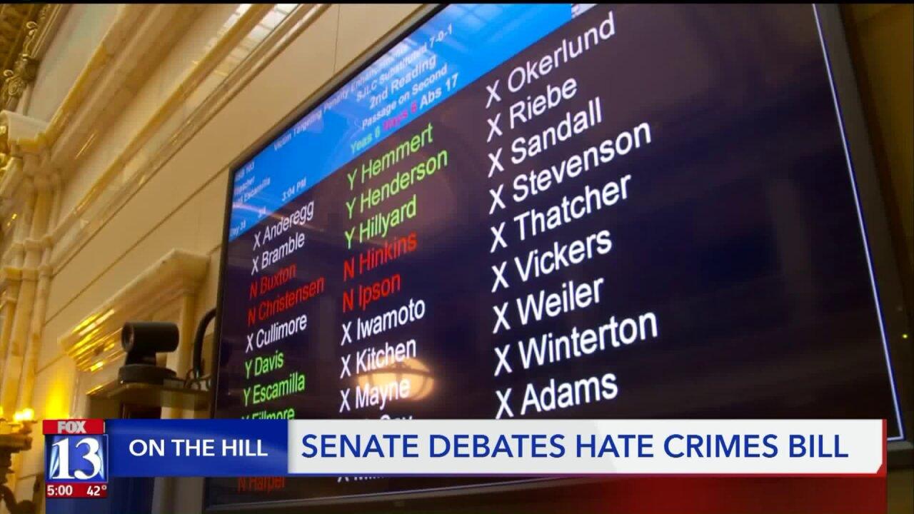 Hate crimes bill passes a critical vote in the Utah StateSenate