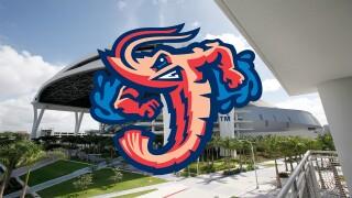 Jacksonville Jumbo Shrimp logo outside Marlins Park