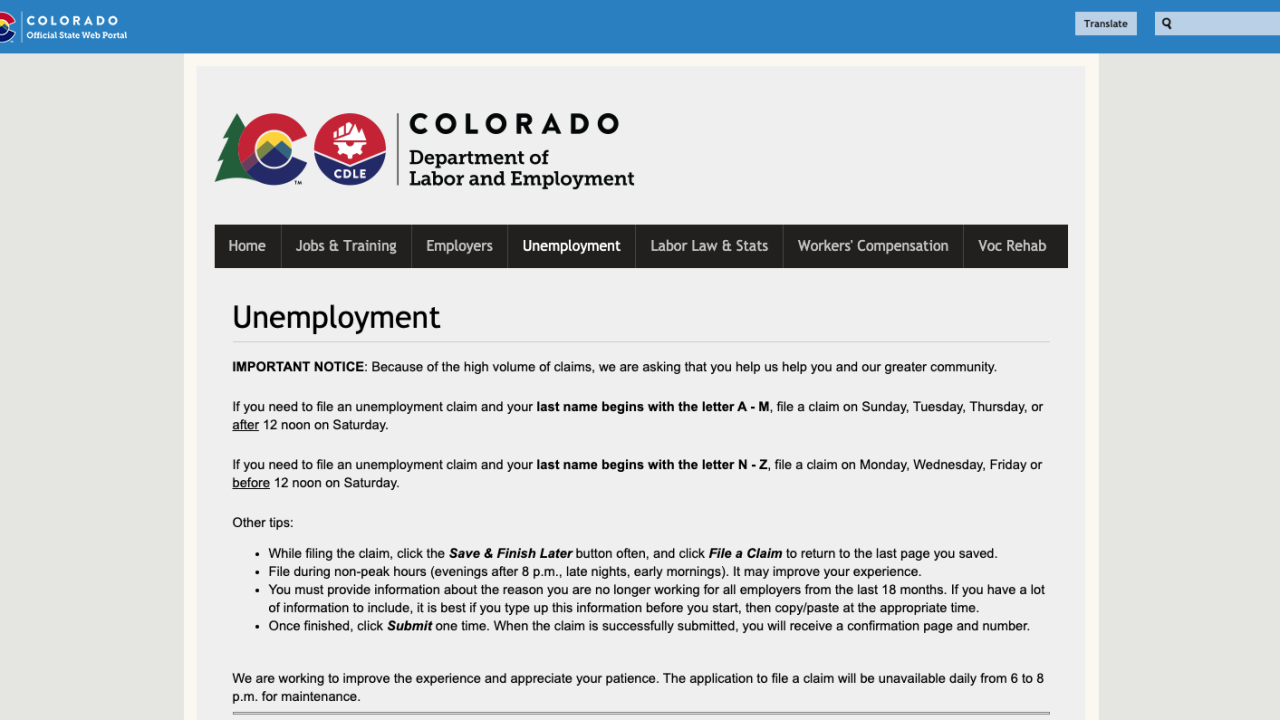 Colorado unemployment