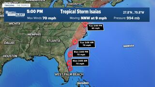 Tropical Storm Isaias track as of 5 p.m.