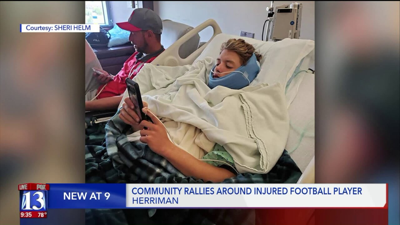 Community rallies for Herriman football player who broke jaw on the field
