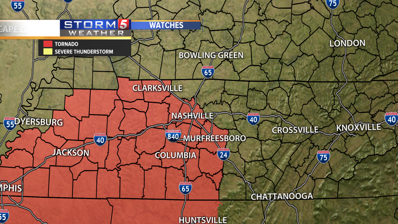 Tornado Watch Issued In Middle Tennessee Until 10 P M Cst