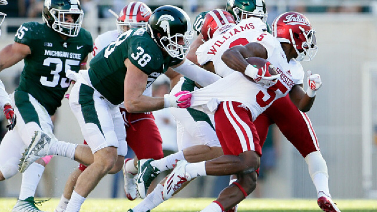 No. 18 Michigan State comes through late, beats Indiana 17-9