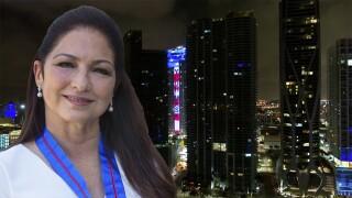 Gloria Estefan 'Put on Your Mask' lyrics illuminate over downtown Miami