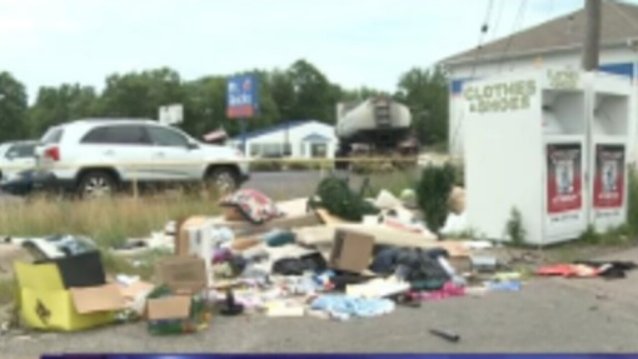 Trash piles up near donation bins