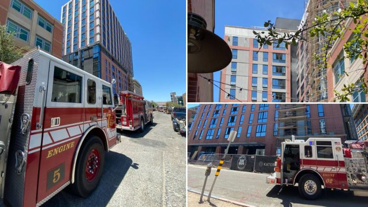 A University of Arizona building that is under construction was evacuated due to a fire Tuesday. Photo courtesy Tucson Fire.