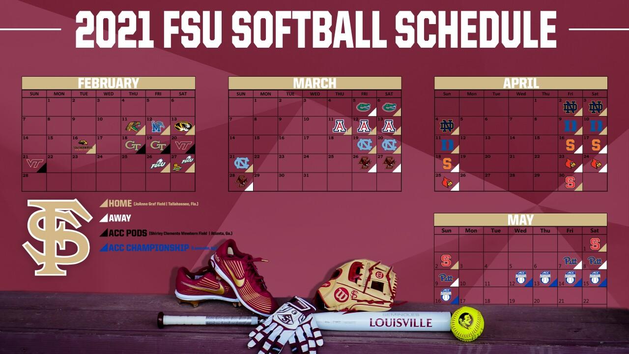 FSU Softball 2021 schedule graphic