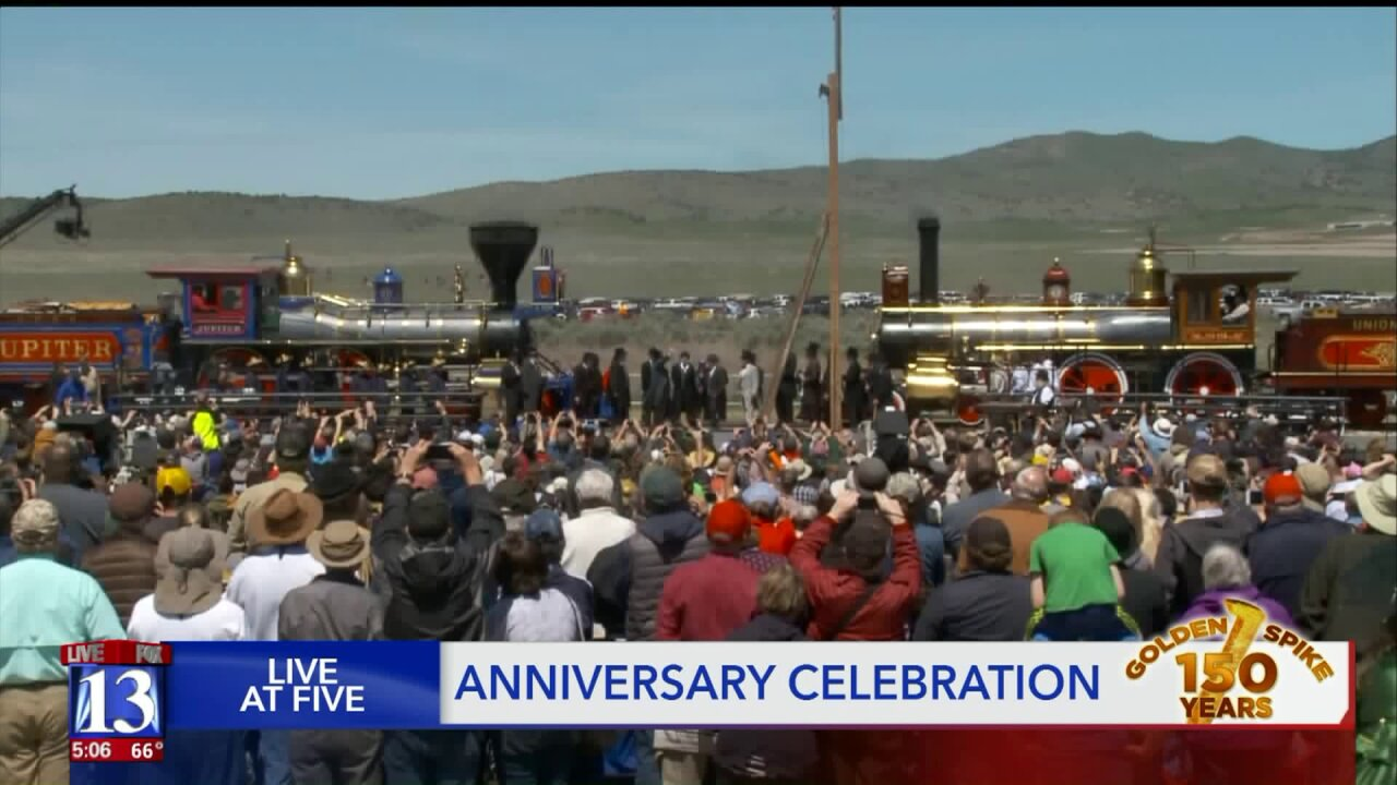 Thousands gather to celebrate Transcontinental Railroad's 150th anniversary