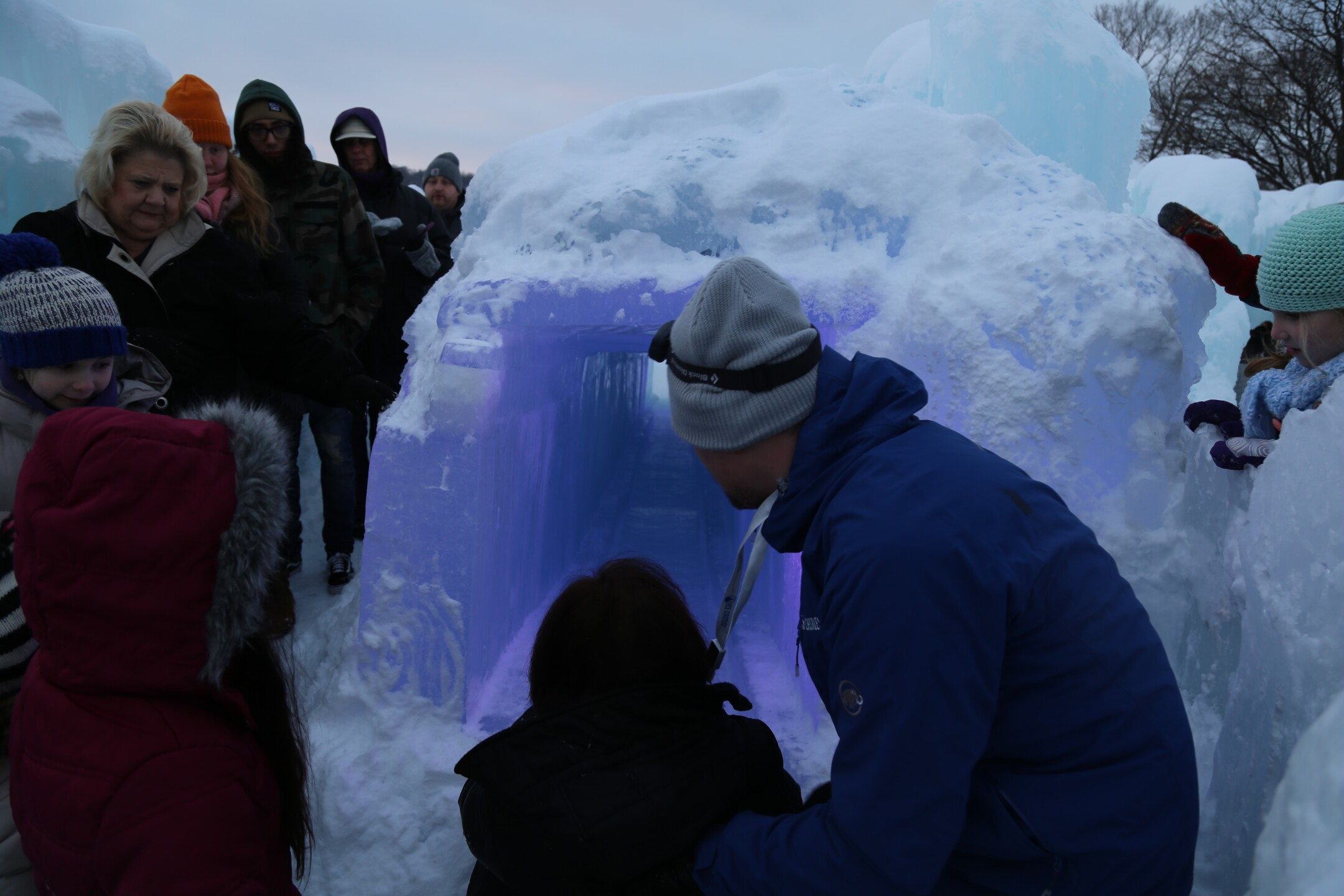 Guests enjoy the Ice Castles in Lake Geneva, WI