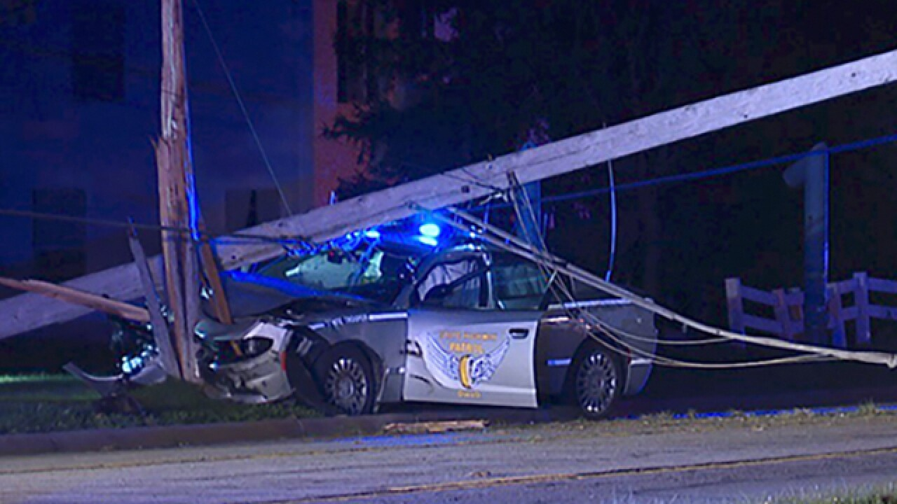 OSHP cruiser crashes into pole during chase