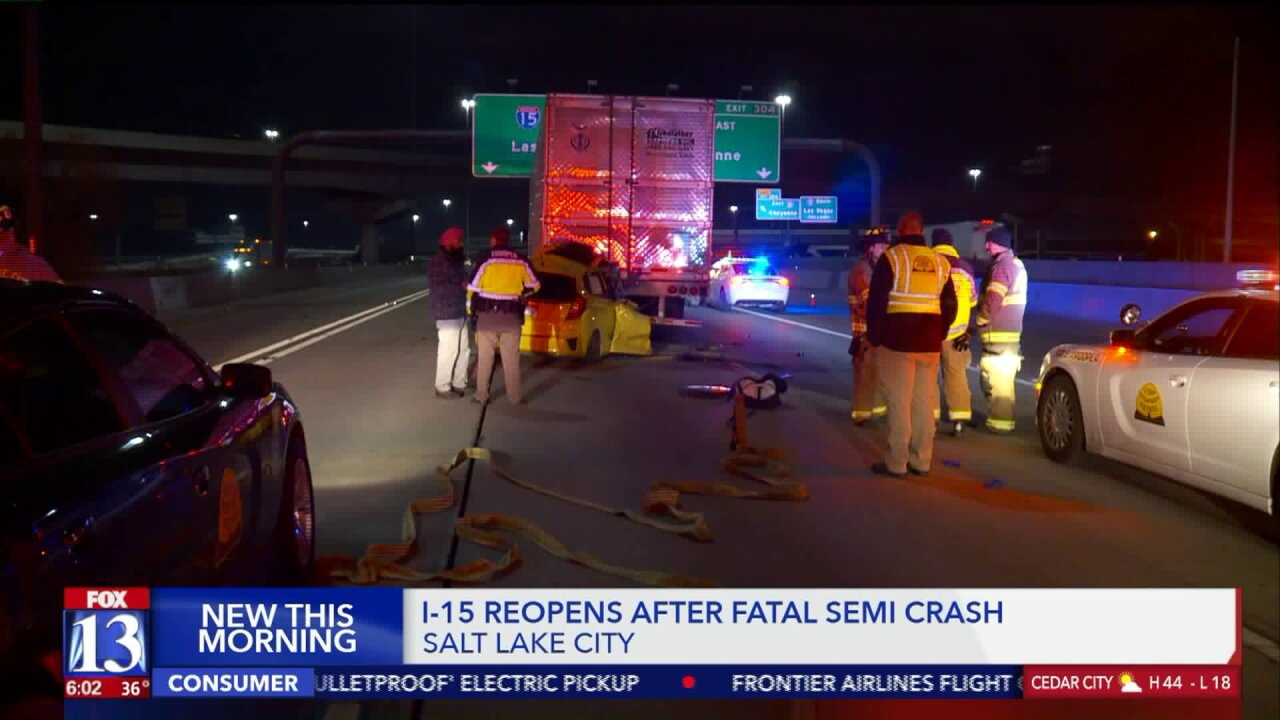 Driver dies after rear-ending semitrailer on I-15 in SLC