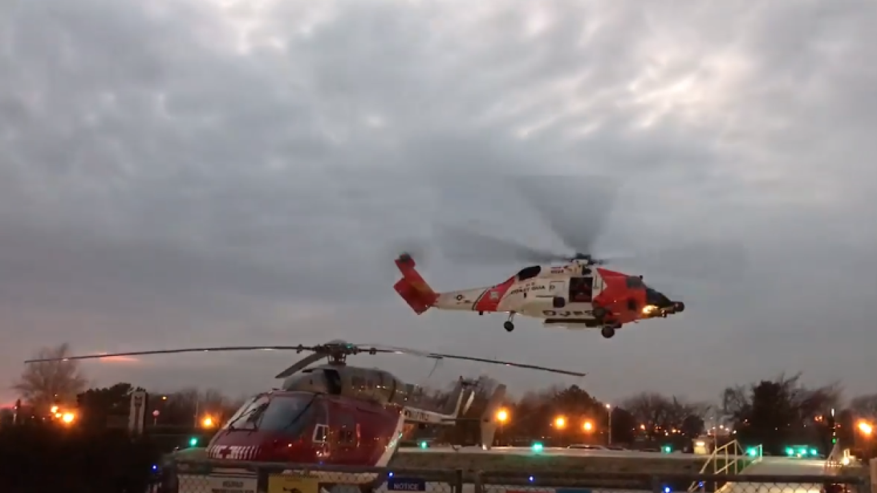 Elizabeth City Coast Guard airlifts injured man off of container ship