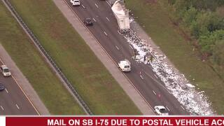 Mail carrier truck accident causes delays on SB I-75 in Hillsborough County