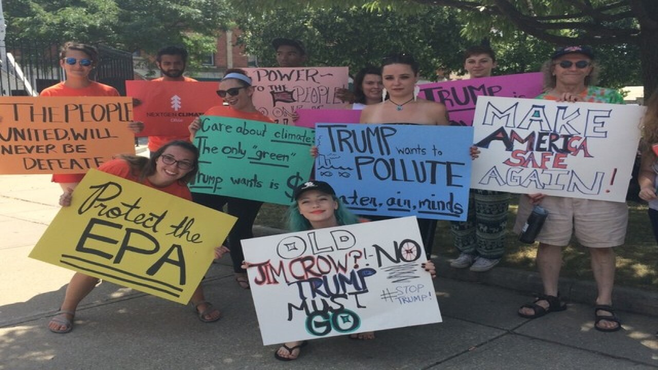 Groups lead statewide day of Trump protests