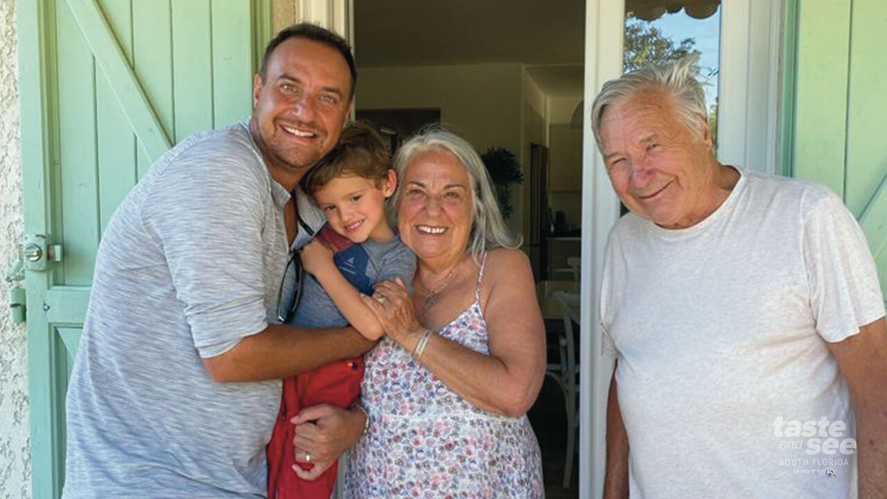 Julien Gremaud, of West Palm Beach, and his four-and-half-year-old son Luca have a surprise for his parents who live in France.