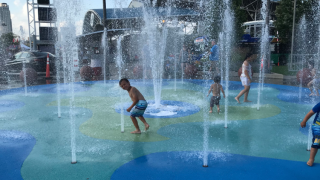 Water fountains at festival