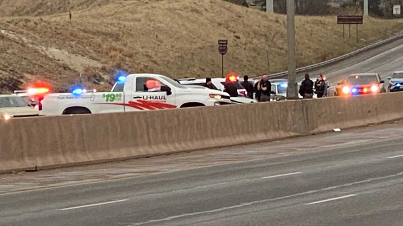 Scene of crash following police pursuit that ended on I-25 in Colorado Springs.
