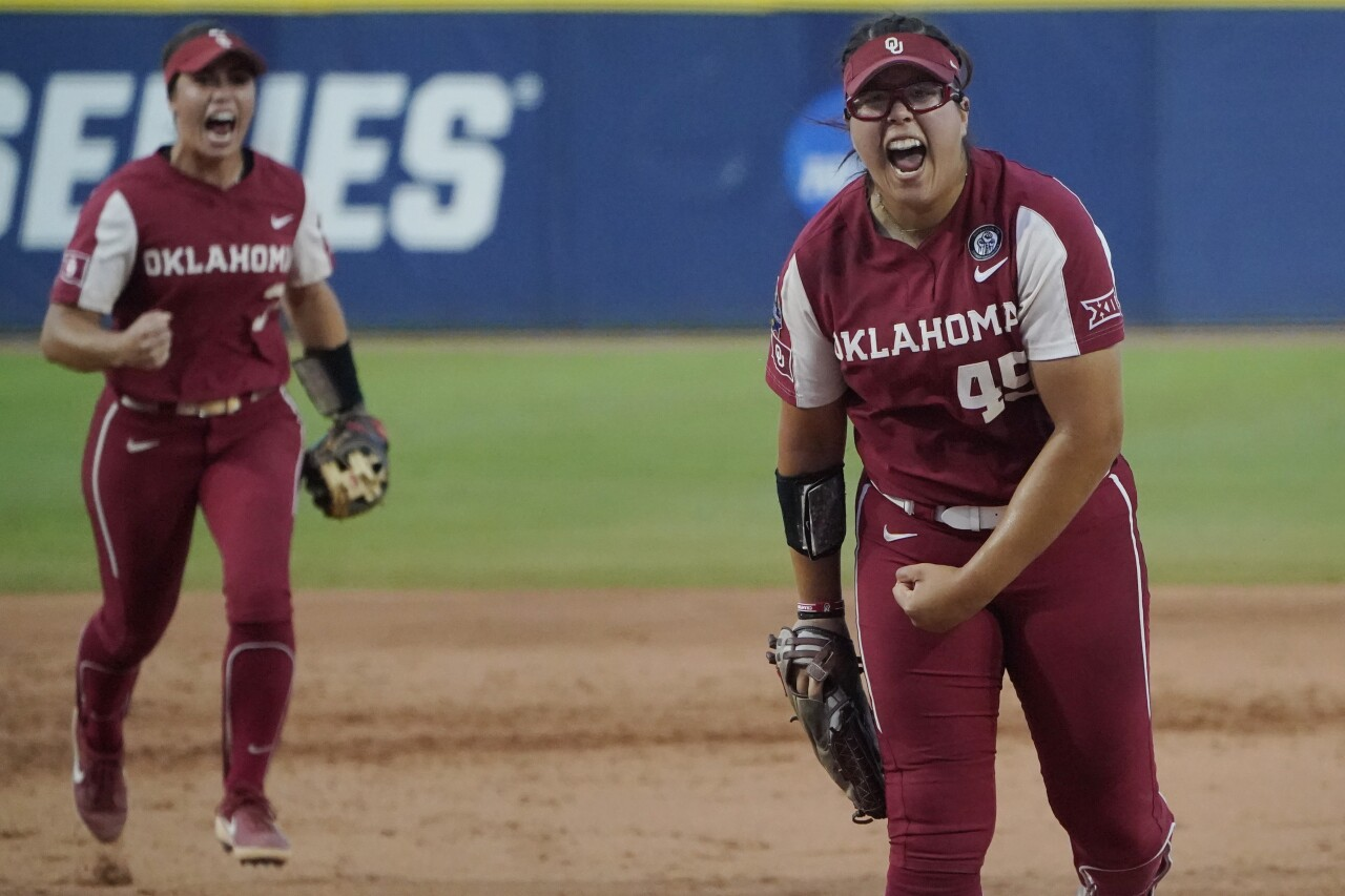 Oklahoma Sooners pitcher Giselle Juarez celebrates after final strikeout against Florida State Seminoles in second game of Women's College World Series championship series, June 9, 2021
