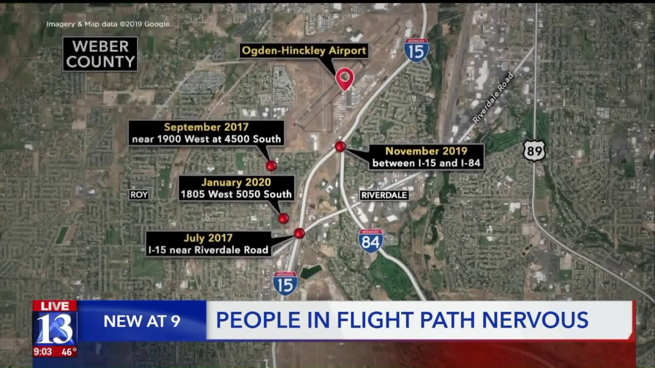 Plane crash cluster near Ogden Airport causing anxiety