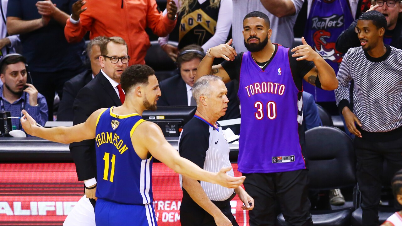Drake trolls Klay Thompson of Golden State during Game 1 of NBA Finals