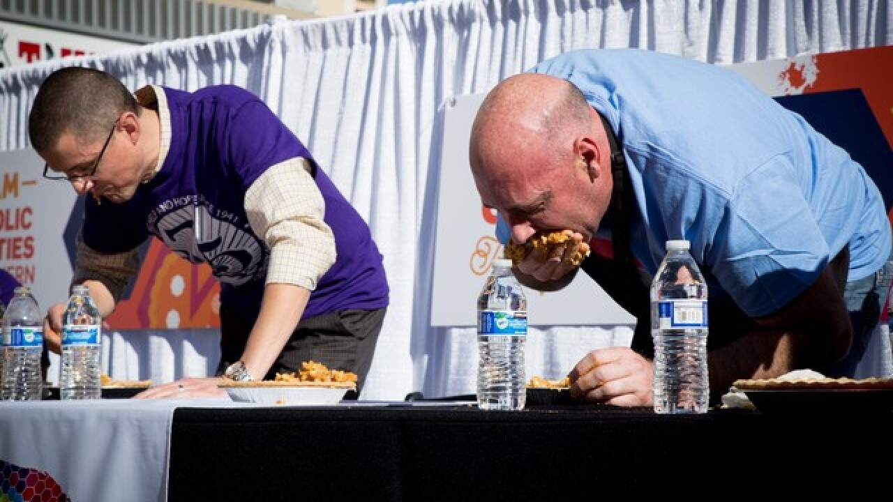 Pie-eating contest at Grand Bazaar Shops