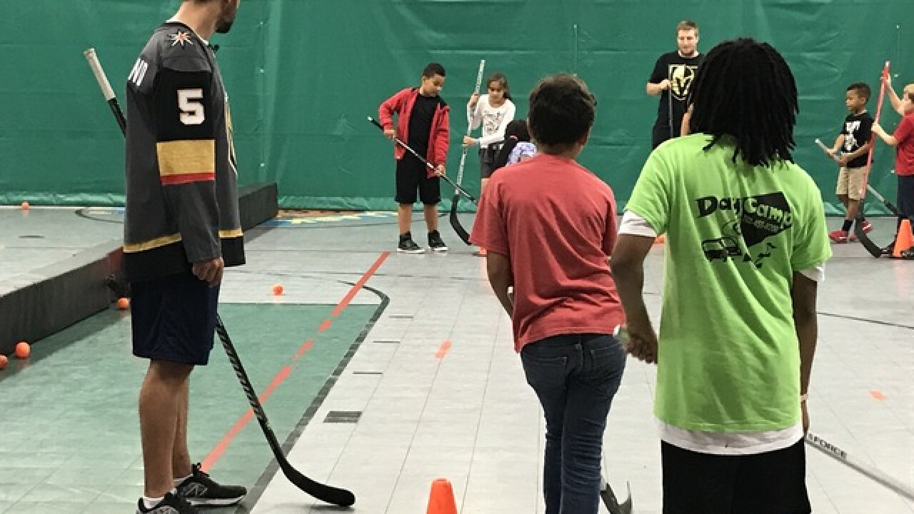 Golden Knights player stops by hockey clinic