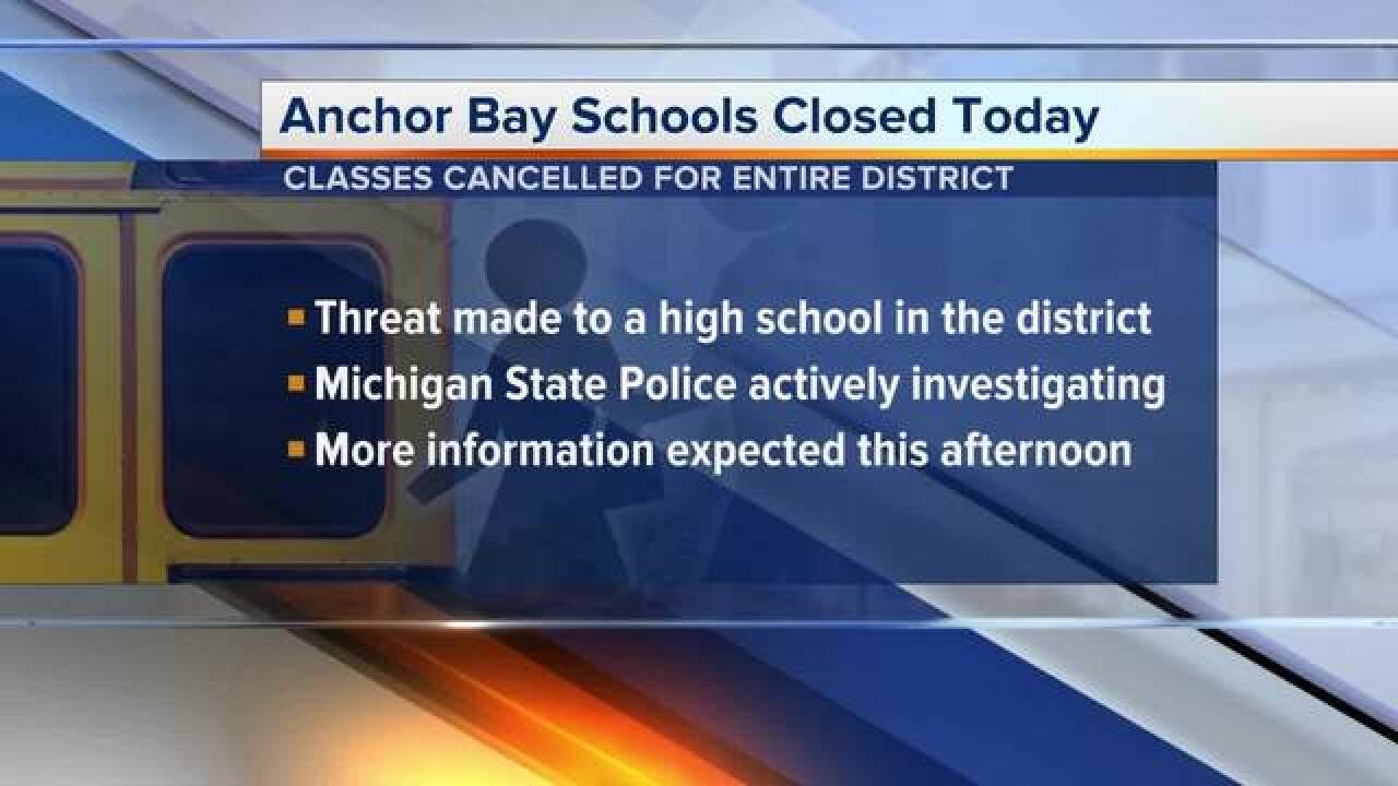Anchor Bay School District will reopen Thursday following school threat