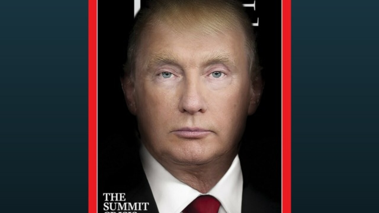 President Trump and Vladimir Putin morph into the same person in Time magazine cover