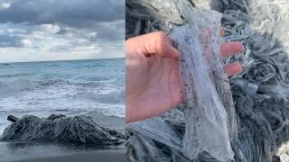 Closeup of plastic mass found on the beach.