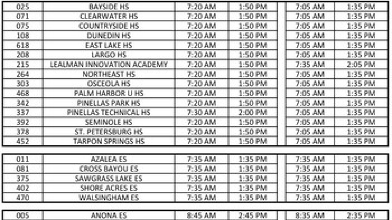 Pinellas County School Calendar 2020 Pinellas County school board approves later start times for most