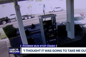 Driver loses control, smashes into Phoenix bus stop