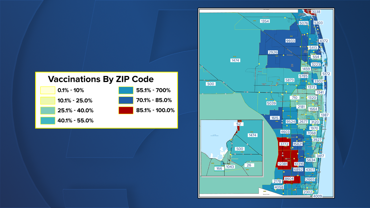 Palm Beach County COVID-19 vaccinations by ZIP code