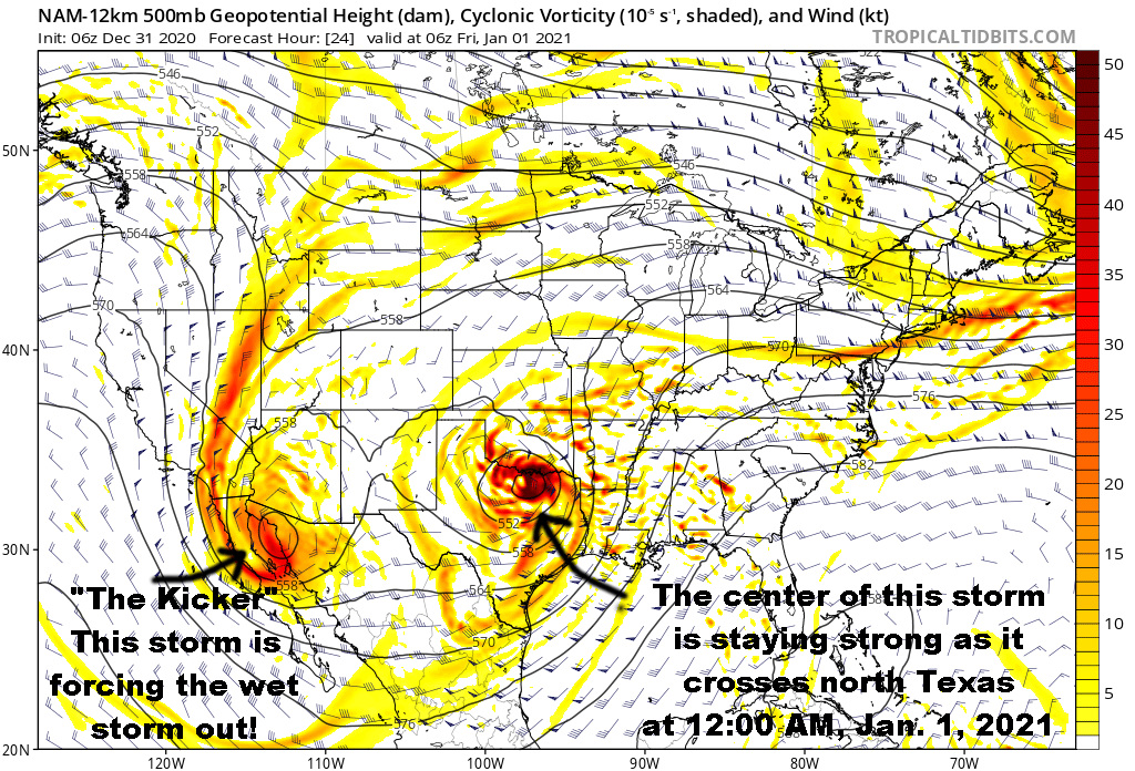 Upper Level Flow (500 mb level) Valid At Midnight, The First Moment Of 2021