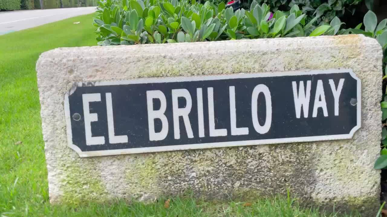 El Brillo Way sign outside entrance to Jeffrey Epstein's former Palm Beach mansion, April 19, 2021