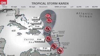 Tropical Storm Karen graphic