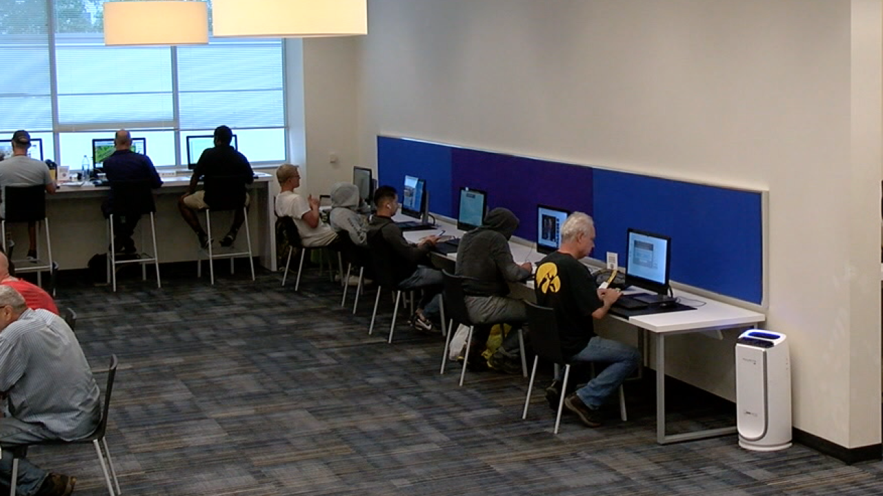 People using computers at KC library