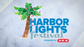 Logo for the Harbor Lights Festival, presented by H-E-B, featuring a palm tree decorated with holiday lights.