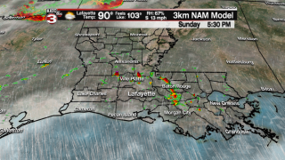 Stray shower possible Sunday; Better rain chances Monday
