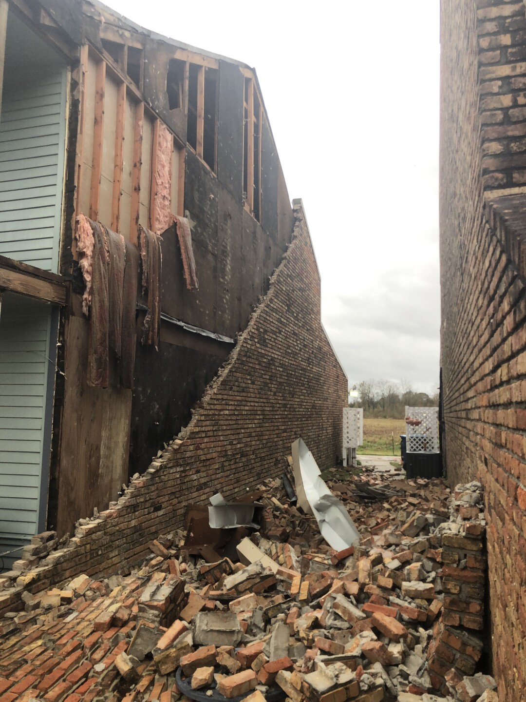Brick wall collapsed