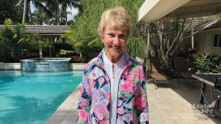 "Barbara Nicklaus models this year's Honda Classic ""Print with a Purpose"" design."
