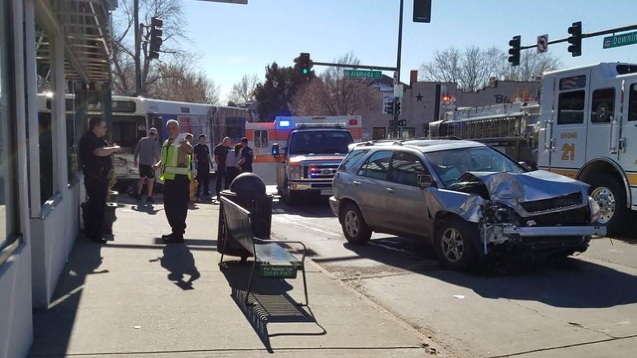4 injured after RTD bus, car crash at busy Denver intersection