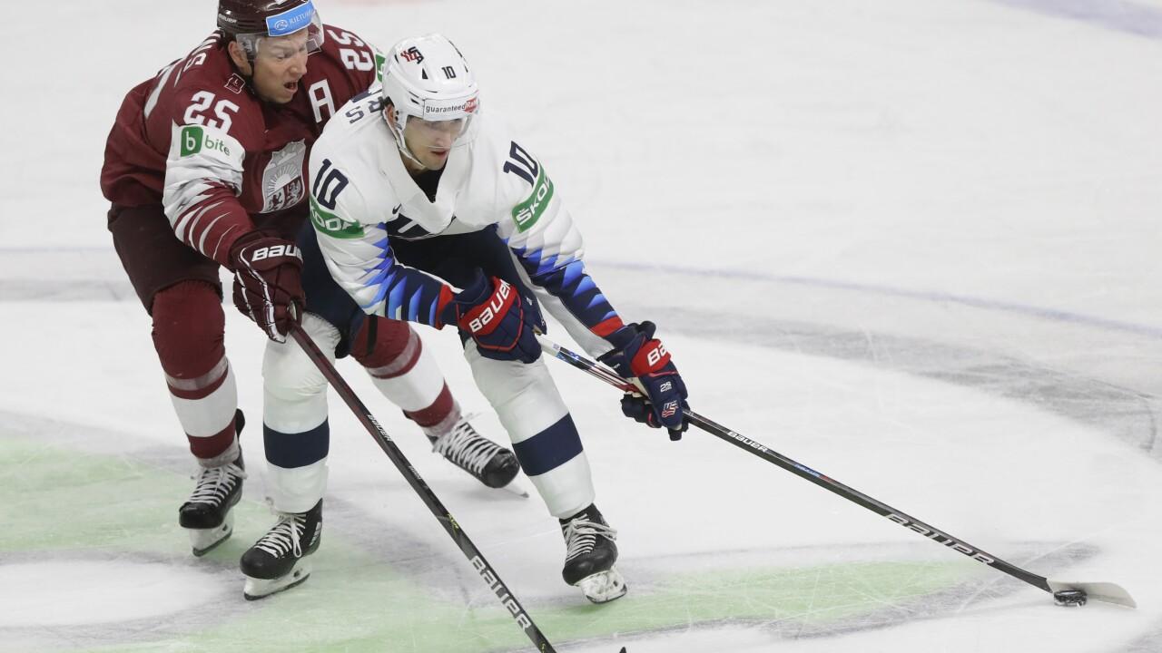 Latvia Ice Hockey Worlds Matty Beniers IIHF